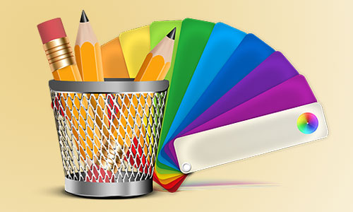 pencils and color swatch