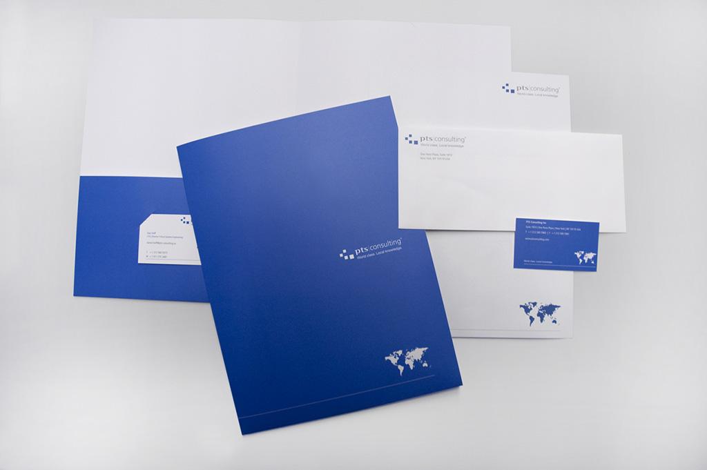 Example of envelopes, letterhead, pocket folders printed at Kay Printing